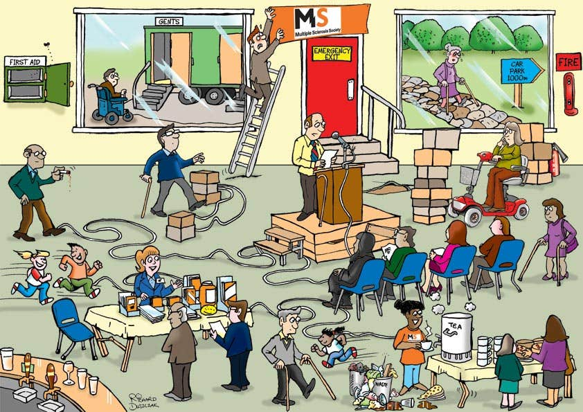 Office health and safety hazards cartoon