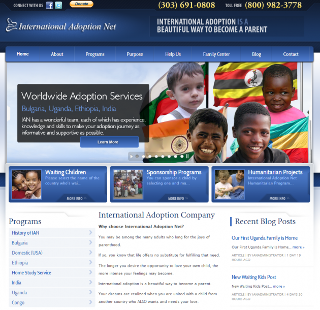 InternationalAdoptionNet.org Web Design and Marketing