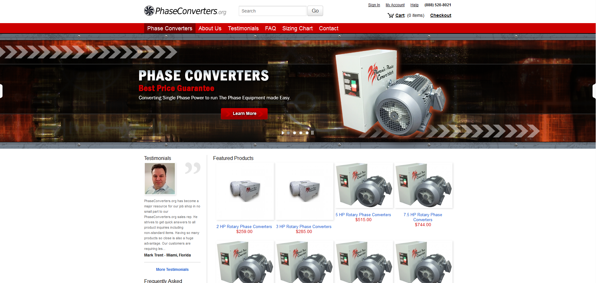 PhaseConverters.org Leading E-Commerce Website