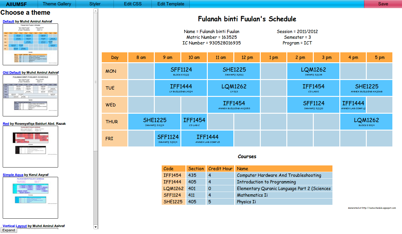 Automatic IIUM Schedule