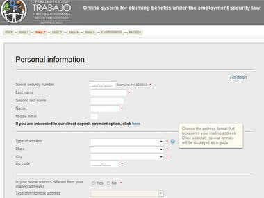 Online system for claiming benefits under the employment sec