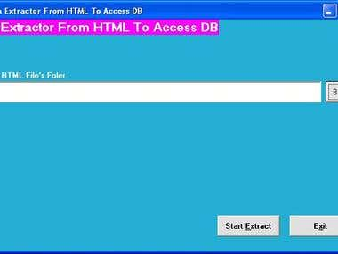 HTML File Data Extractor To Access Data Base