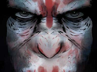 ...CAESAR from PLANET OF THE APES digital painting...