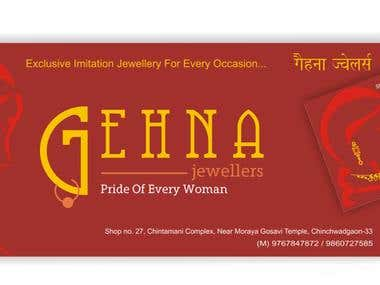Business Card and Signboard Design for Gehna Jewellers