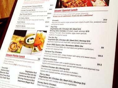 Menu Design: Umami Asian Cuisine