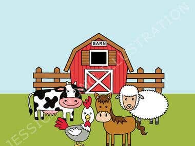 Barnyard Animal Illustration