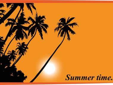 Summer postcard or background