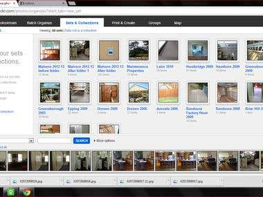 Flickr photo uploading and organizing