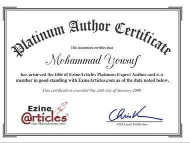 EzineArticles Platinum Expert Author
