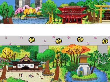 Huge illustrations for a Japanese skyline restaurant.