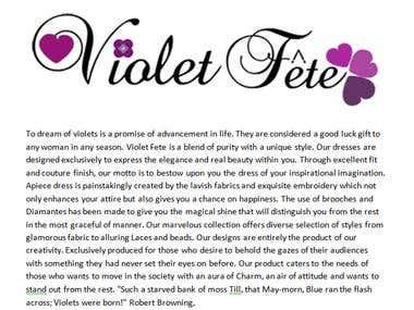 Violet Fete Main Page Web content