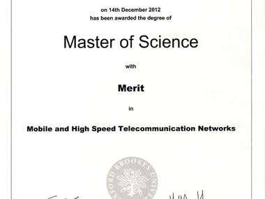 MSc certificate in Mobile & High Speed Networks