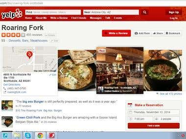 Find Website, Twitter, FB Link from Yelp Pages