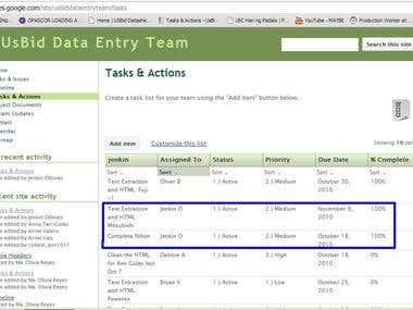 Data entry Task for Odesk Task Tracking