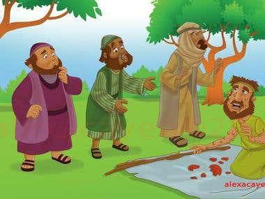 illustration for a Bible story children's book