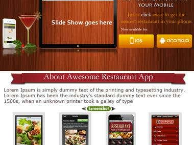 iPhone App showing Landing page