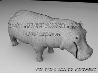 Hippo wire-frame mesh