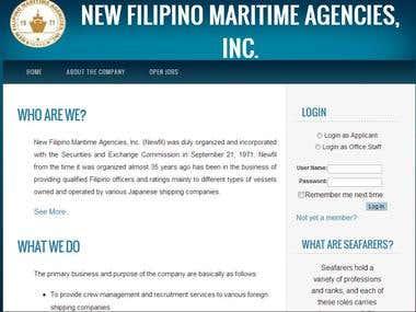 Online JobRecruitment for New Filipino Maritime Agencies,Inc