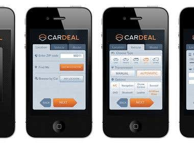 CarDeal App orange color variations