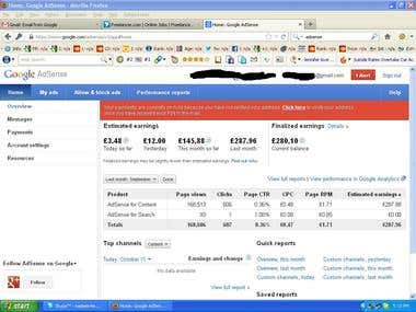 Uk Client adsense screen shots for last month september