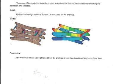Static Analysis of Scissor lift