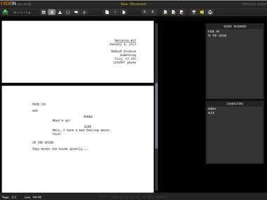 FadeIn Script Writing App