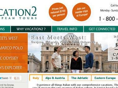 Website design - Vacation 2 Europe agency