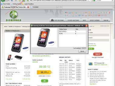 Bidding history, add-on for Firefox for www.bidrivals.com