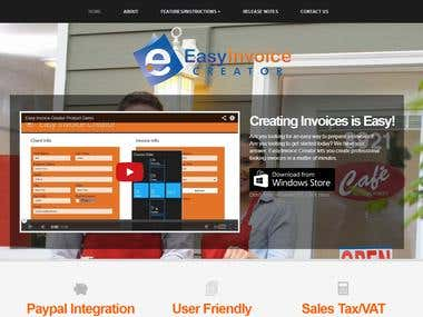 Easyinvoice app selling website in wordpress