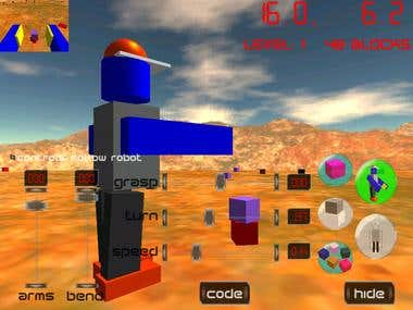 C++, OpenGL, 3D toy robot, toy blocks, physics engine