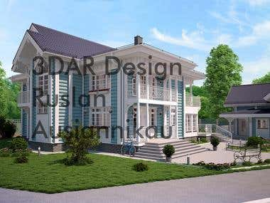 Vray Rendering russian style cottage