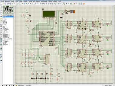 proteus-isis simulation for 4 axis BOARD