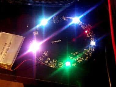 Custom designed PCB for capacitive sensing and LED lighting