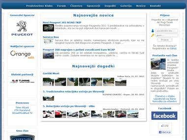 Website - Car Club Peugeot Slovenia
