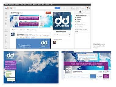 Identity-logo and Social Profiles.