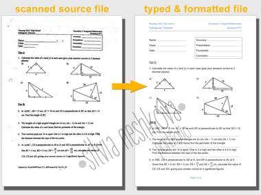 Typing scanned math file