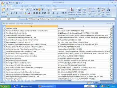Emails to be searched in google and psted in excel simple