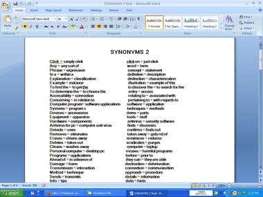 Create a list of English synonyms 2