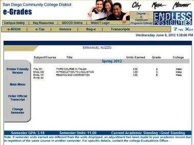 Mesa College grades