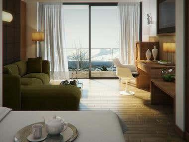 Hotel room renderings