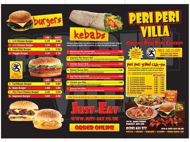 Restaurant, fast food and bar menus