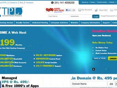 Web hosting company portal in core php