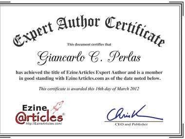 Ezine Certification