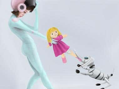 Girl and her robodog