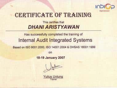 Sertifikat ISO 9001, ISO 14001, OHSAS 18001