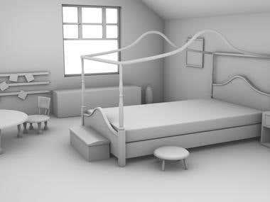 modeling a cartoonish bed room