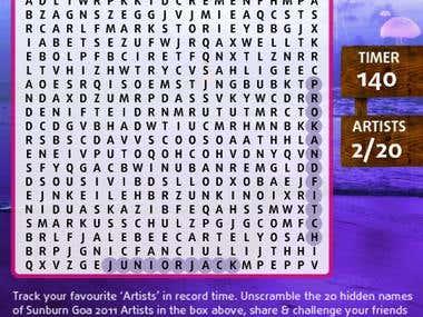 Flash based crossword Facebook App for Suburn Music Festival