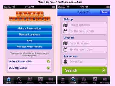 Travel Car Rental iPhone  app
