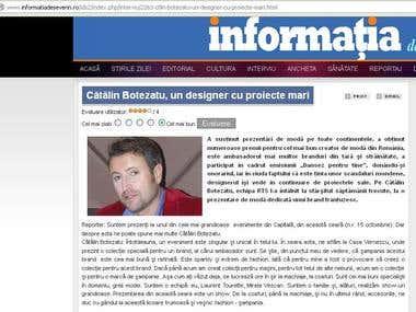 Intervew with fashion designer Catalin Botezatu