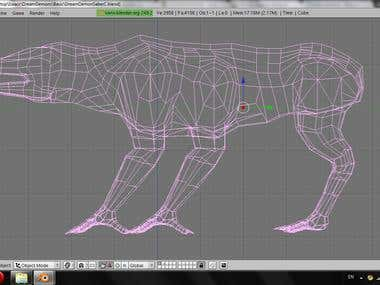 Side view of the low-poly creature